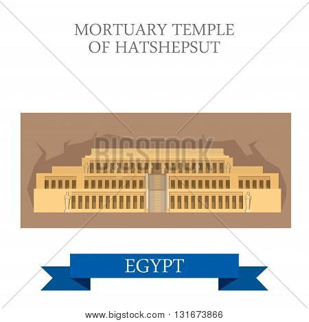 Mortuary Temple of Hatshepsut Luxor Egypt vector flat attraction