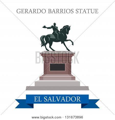 Gerardo Barrios Statue in El Salvador vector flat attraction