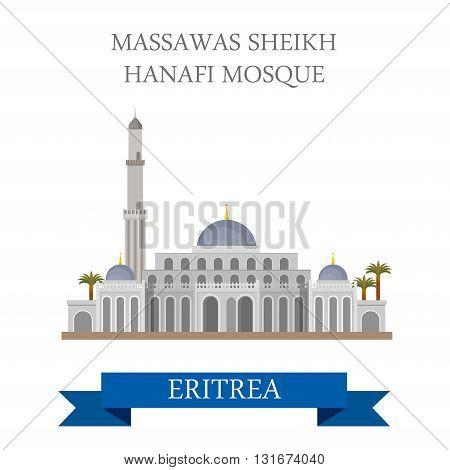 Massawas Sheikh Hanafi Mosque in Eritrea vector flat attraction