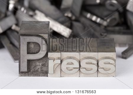 lead type letters form the word press