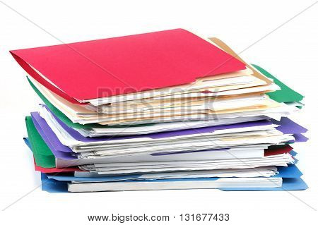 stacking documents and folders on white background
