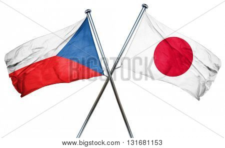 czechoslovakia flag  combined with japan flag poster