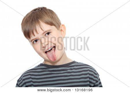 Educational theme: boy teenager. Isolated over white background.