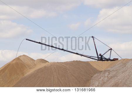 the rise of the potassium salt of the mine conveyor