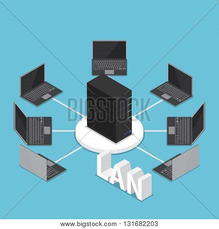 Isometric LAN network diagram computer network and technology concept