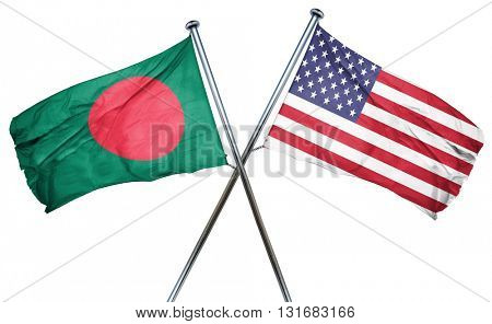 Bangladesh flag with american flag, isolated on white background