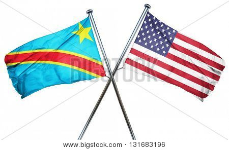 Democratic republic of the congo flag with american flag, isolat