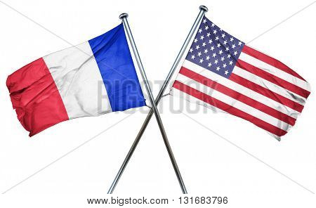 France flag with american flag, isolated on white background