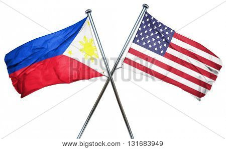 Philippines flag with american flag, isolated on white backgroun