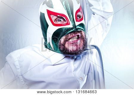 angry businessman with Mexican wrestler mask, expressions of anger and rage poster