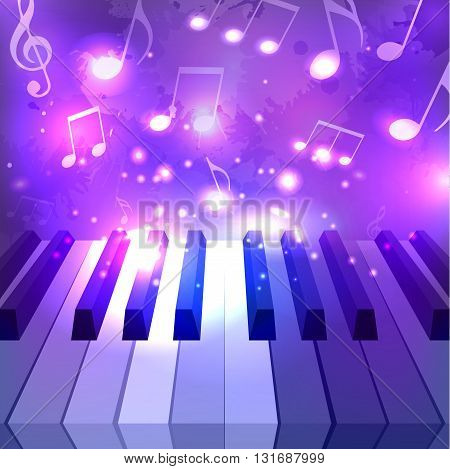 Vector illustration of piano keys notes and sparkles for your design
