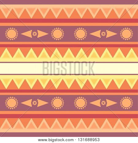 Seamless geometric ethnic texture with sun for your design