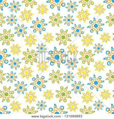 Seamless pattern ring chain curlicues on white background