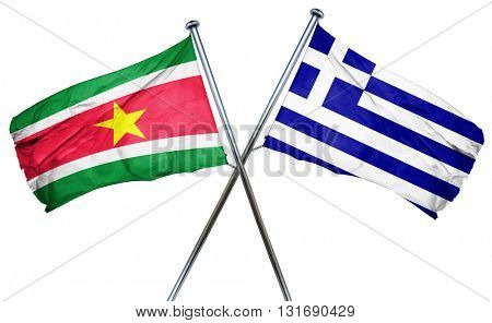 Suriname flag  combined with greek flag poster