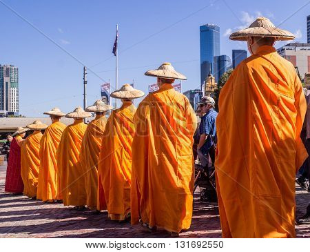 Melbourne, Australia - May 14, 2016: Buddhist monks celebrate Buddha day at federation square