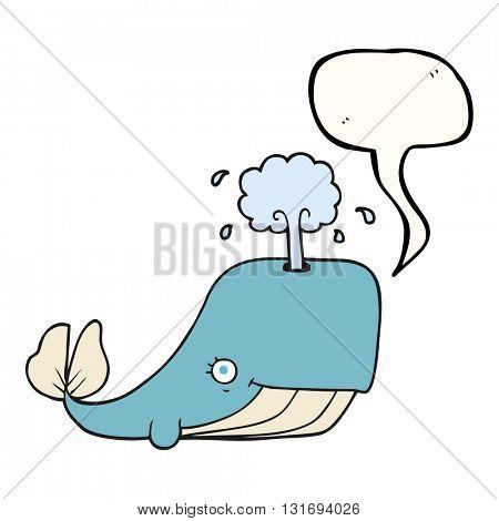 freehand drawn speech bubble cartoon whale spouting water