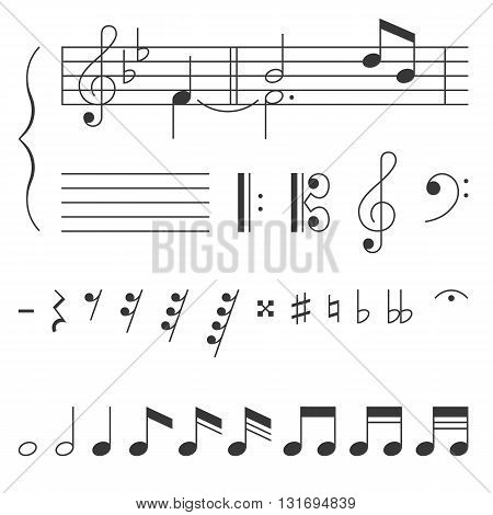 Music note and clef with elements, clef  vector