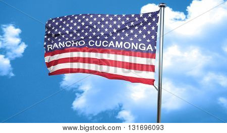 rancho cucamonga, 3D rendering, city flag with stars and stripes