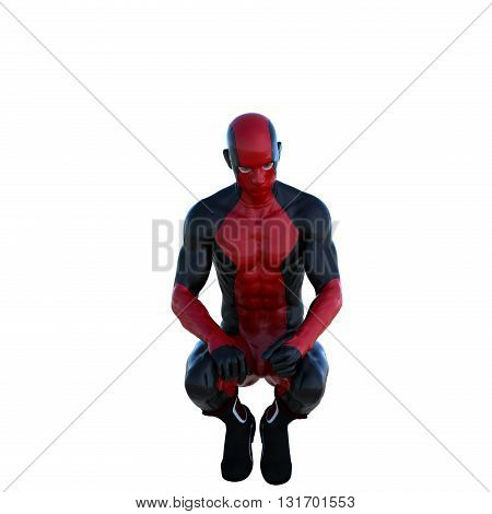 one young man in a red and black super suit. Sits on a half. 3D rendering, 3D illustration