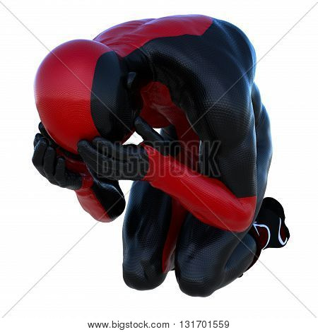 one young man in the red and black super suit. Crying on his knees. 3D rendering, 3D illustration