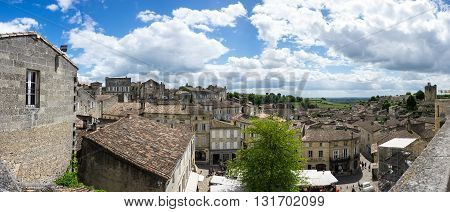 SAINT-EMILION FRANCE - MAY 06 2015: Saint-Emilion - one of the main red wine production areas of Bordeaux region France. The town is a UNESCO World Heritage site