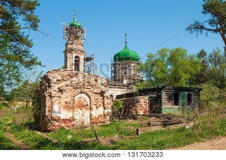 Ruins of the ancient Church of the Resurrection in the old Russian city of Torzhok