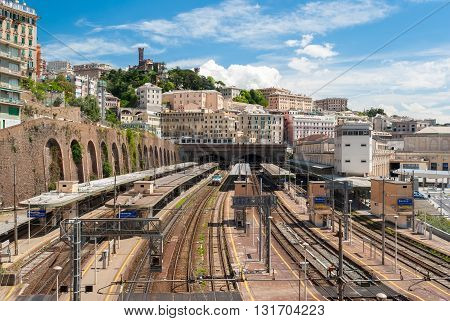 GENOA, ITALY - APRIL 24, 2016: Top view of the main train station of Genoa, called