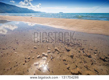 Sandy Beach In Hot Summer Day Laganas Bay Zakynthos Greece