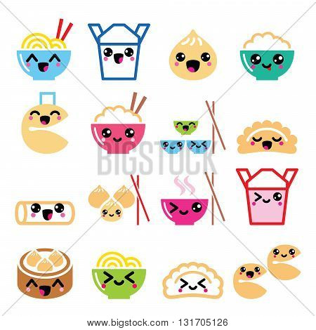 Kawaii Chinese take away food characters- pasta, rice, spring rolls, fortune cookies, dumplings poster