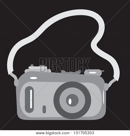 The camera with a strap on black background