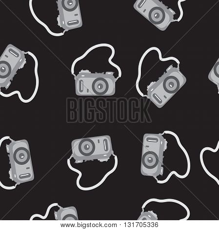 Seamless pattern camera with a strap on black background