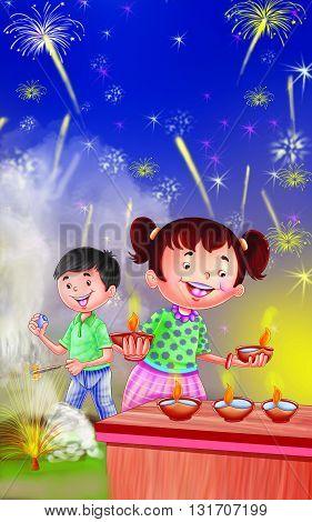Rhyme Diwali, Kids Enjoying playing with crackers
