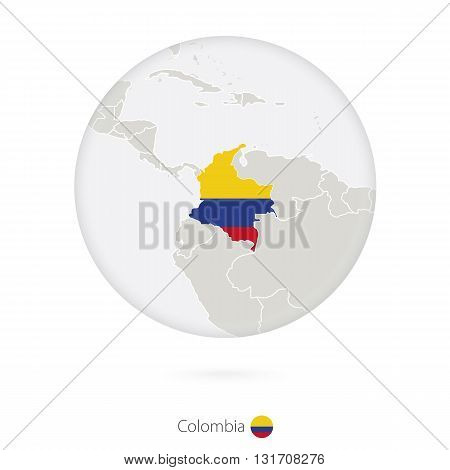 Map Of Colombia And National Flag In A Circle.