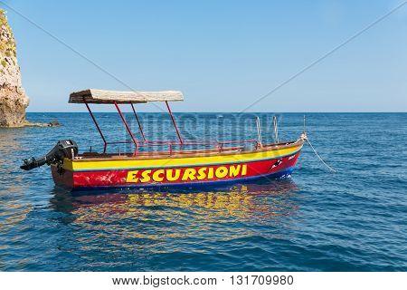 TAORMINA ITALY - MAY 21: Launching sloop at the beach of Taormina on May 21 2016 at the island Sicily Italy