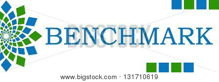 Benchmark text written over green blue horizontal background.