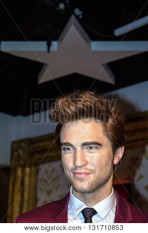 LONDON UK - JUNE 7 2015: Robert Douglas Thomas Pattinson (born 13 May 1986) English actor model musician and producer in Madame Tussaud museum