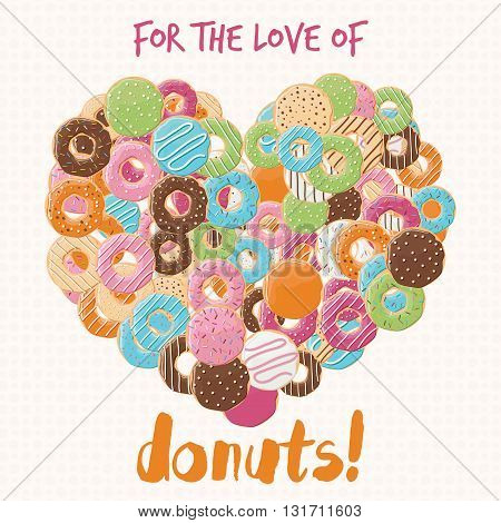 Poster design with colorful glossy tasty donuts vector illustration