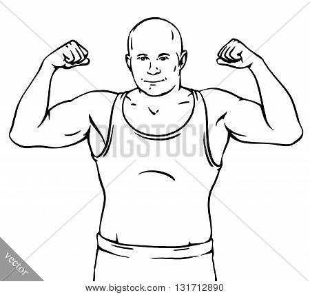 funny cartoon cool MMA fighter man illustration