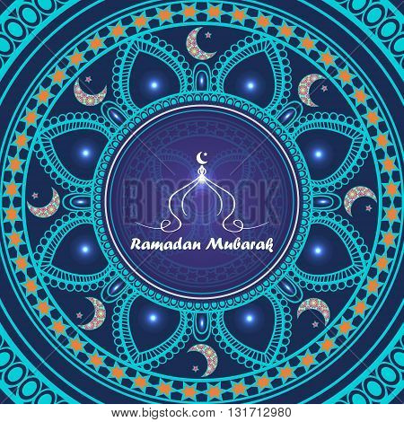 Vector greeting card to Ramadan. Greeting background with text Ramadan Mubarak and muslim symbols
