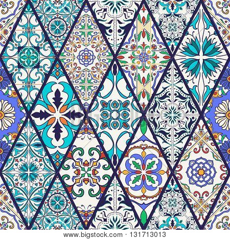 Vector seamless texture. Beautiful mega patchwork pattern for design and fashion with decorative elements. Portuguese tiles Azulejo Talavera Moroccan ornaments in rhombus