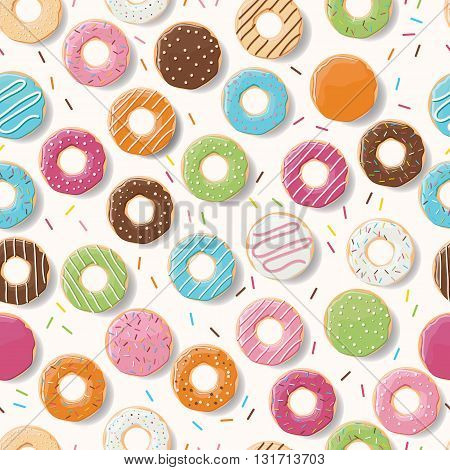Seamless pattern with colorful tasty glossy donuts vector illustration