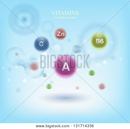 Medical vitamins and cell background. Vitamins molecule chemical science. Blue cell background. Life and biology, medicine scientific, bacteria, molecular research DNA.