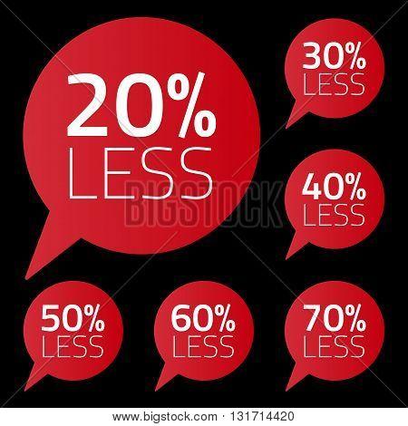Vector set of percent less speech bubble. sale business illustration