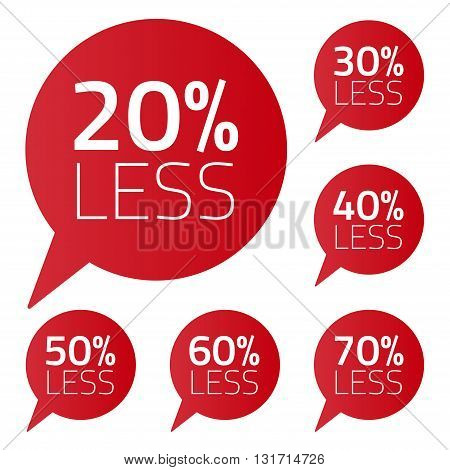 Vector set of percent less speech bubble. ale business illustration on white background