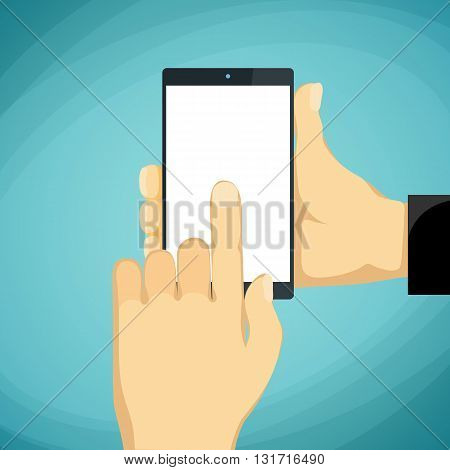 Man holds in a palm a smartphone with a white screen. Stock vector illustration.