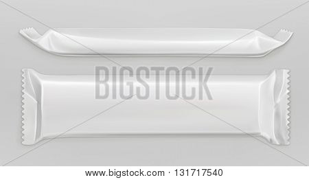 White polyethylene package, chocolate bar, vector mockup
