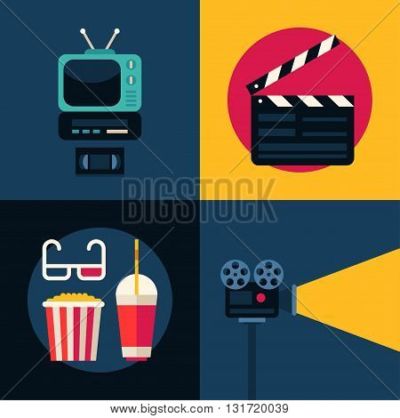 Set of Movie Concept Flat Style Vector Illustrations. TV set Movie Clapper Board Popcorn 3D Glasses Movie Projector