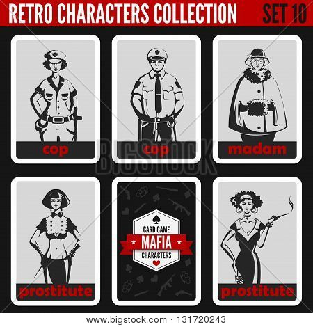 Vintage retro people collection. Mafia noir style. Madam, Prostitutes, Cops. Professions silhouettes.