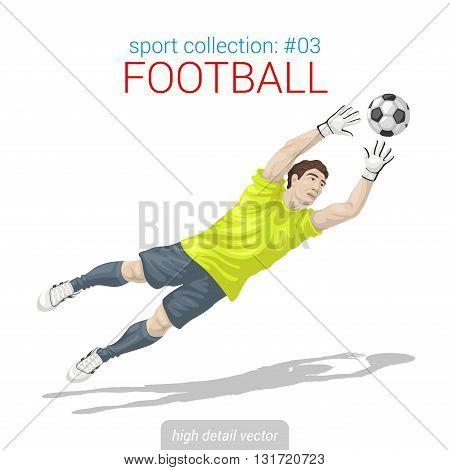 Sportsmen vector collection. Football goalkeeper goal ball jump. Sportsman high detail illustration.
