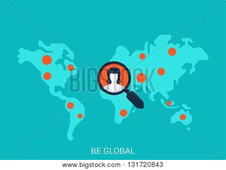 Flat style vector illustration social globalisation concept